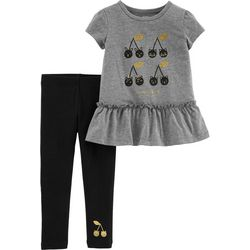 Carters Baby Girls Cherry Happy Peplum Leggings Set