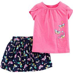 Carters Baby Girls Butterfly Rainbow Skort Set