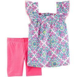 Carters Baby Girls Floral Tile Shorts Set