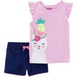 Carters Baby Girls Tropical Kitty Shorts Set