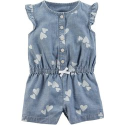 Carters Baby Girls Chambray Hearts Romper