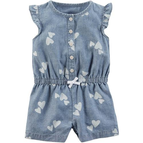 a2afe2b2080 Carters Baby Girls Chambray Hearts Romper