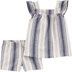 Carters Baby Girls Linen Stripe Shorts Set