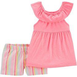 Carters Baby Girls Ruffle Top & Striped Short Set