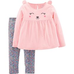 Carters Baby Girls Bear Floral Leggings Set
