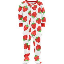 Carters Baby Girls Strawberry Snug Fit Footie Pajamas