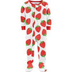 Carters Baby Girls Strawberry Snug Fit Footie Pajamas