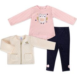 Baby Essentials Baby Girls 3-pc. Owl Jacket Leggings Set