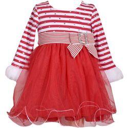 Bonnie Jean Baby Girls Striped Santa Dress