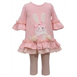 Bonnie Jean Baby Girls Bunny Tunic & Striped Leggings Set