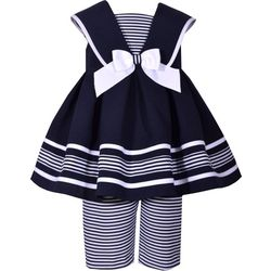 Bonnie Jean Baby Girls Striped Nautical Dress Pants Set