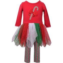 Bonnie Jean Baby Girls Candy Cane Tutu Leggings Set