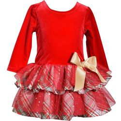 Bonnie Jean Baby Girls Plaid Tiered Velvet Dress
