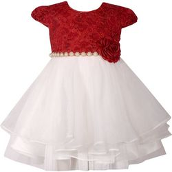 Bonnie Jean Baby Girls Floral Lace Christmas Dress