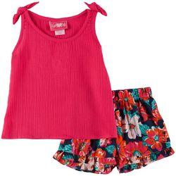 Girls Love Pink Baby Girls Floral Chiffon Tank Shorts Set