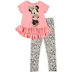 Disney Baby Girls Minnie Mouse Leopard Print Leggings Set