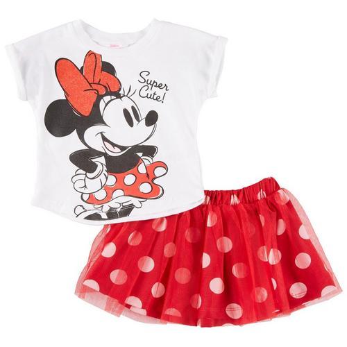 01d023073ab Disney Minnie Mouse Baby Girls Super Cut Polka Dot Skirt Set ...