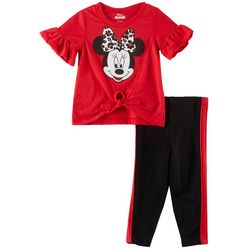 Disney Minnie Mouse Baby Girls Leopard Bow Leggings Set
