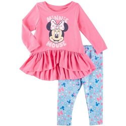 Disney Minnie Mouse Baby Girls Ruffle Leggings Set