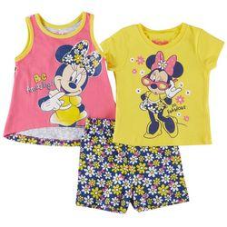 Disney Baby Girls Minnie Mouse 3-pc. Daisy Print Short Set