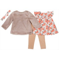 Little Lass Baby Girls 4-pc. Sherpa Vest & Leggings Set