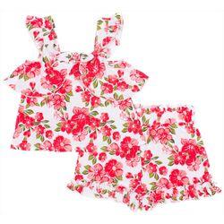 Little Lass Baby Girls Floral Ruffle Short Set