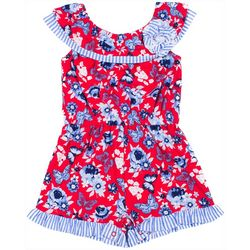 Little Lass Baby Girls Floral Striped Americana Romper