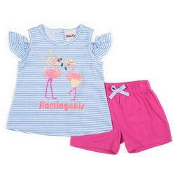Little Lass Baby Girls Flamingoals Short Set