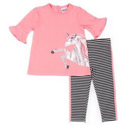 Little Lass Baby Girls 2-pc. Unicorn Stripe Leggings Set