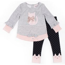 Little Lass Baby Girls 2-pc. Cat Leggings Set