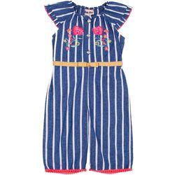 Little Lass Baby Girls Chambray Stripe Jumpsuit