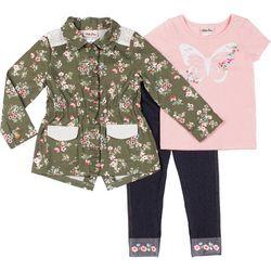 Little Lass Baby Girls 3-pc. Floral Butteryfly Jacket Set