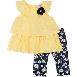 Little Lass Baby Girls Ruffle Eyelet Leggings Set