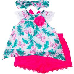 Little Lass Baby Girls 2-pc. Butterfly Chiffon Short Set