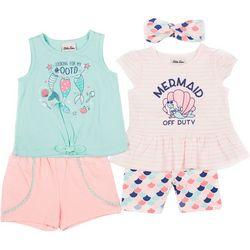Little Lass Baby Girls 4-pc. Mermaid Set