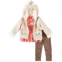 Little Lass Baby Girls 3-pc. Cat Jacket Leggings Set