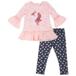 Little Lass Baby Girls Unicorn Chiffon Pants Set