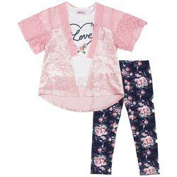 Little Lass Baby Girls 3-pc. Floral Love Kimono Leggings Set