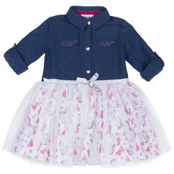 Little Lass Baby Girls Unicorn Chambray Tulle Dress