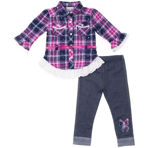 1ad865f3efb5 Little Lass Baby Girls Plaid Dots Chambray Leggings Set