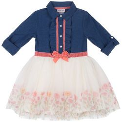 Little Lass Baby Girls Chambray Floral Tulle Dress