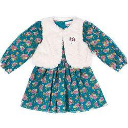 Little Lass Baby Girls Floral Dress Vest Set