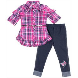 Little Lass Baby Girls Plaid Embellished Leggings Set