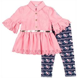 Little Lass Baby Girls Suede Belted Floral Leggings Set