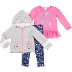 Little Lass Baby Girls 3-pc. Unicorn Jacket Set