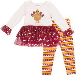 Little Lass Baby Girls Turkey Tutu Leggings Set