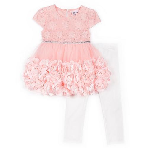 5b29015bcb071 Little Lass Toddler Girls Floral Rosette Dress & Leggings   Bealls ...