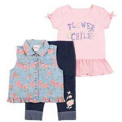 Little Lass Baby Girls 3-pc. Flower Child Vest Leggings Set