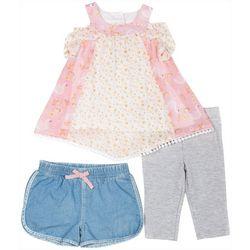 Little Lass Baby Girls 3-pc. Floral Swan Leggings Set