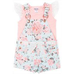 Little Lass Baby Girls Floral Shortalls Set